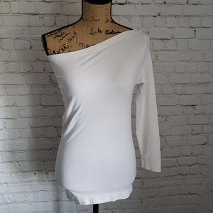 Helmut Lang Fitted White One Shoulder Sexy Shirt